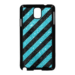 Stripes3 Black Marble & Turquoise Glitter (r) Samsung Galaxy Note 3 Neo Hardshell Case (black) by trendistuff