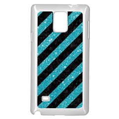 Stripes3 Black Marble & Turquoise Glitter (r) Samsung Galaxy Note 4 Case (white) by trendistuff