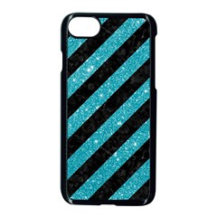 Stripes3 Black Marble & Turquoise Glitter (r) Apple Iphone 8 Seamless Case (black) by trendistuff