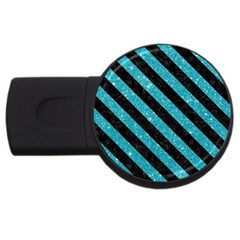 Stripes3 Black Marble & Turquoise Glitter Usb Flash Drive Round (2 Gb) by trendistuff