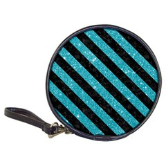 Stripes3 Black Marble & Turquoise Glitter Classic 20 Cd Wallets by trendistuff