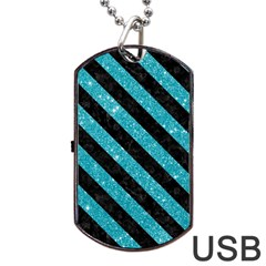 Stripes3 Black Marble & Turquoise Glitter Dog Tag Usb Flash (one Side) by trendistuff
