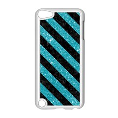 Stripes3 Black Marble & Turquoise Glitter Apple Ipod Touch 5 Case (white)