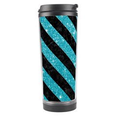 Stripes3 Black Marble & Turquoise Glitter Travel Tumbler by trendistuff