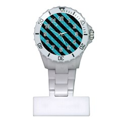 Stripes3 Black Marble & Turquoise Glitter Plastic Nurses Watch by trendistuff
