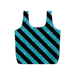 Stripes3 Black Marble & Turquoise Glitter Full Print Recycle Bags (s)  by trendistuff