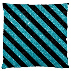 Stripes3 Black Marble & Turquoise Glitter Large Flano Cushion Case (one Side) by trendistuff