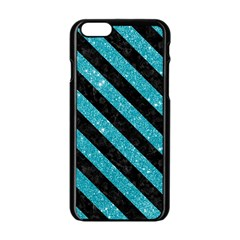 Stripes3 Black Marble & Turquoise Glitter Apple Iphone 6/6s Black Enamel Case by trendistuff