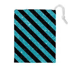 Stripes3 Black Marble & Turquoise Glitter Drawstring Pouches (extra Large) by trendistuff