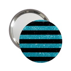Stripes2black Marble & Turquoise Glitter 2 25  Handbag Mirrors by trendistuff