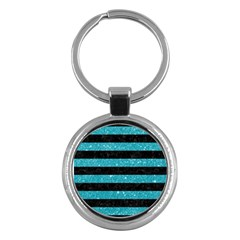 Stripes2black Marble & Turquoise Glitter Key Chains (round)  by trendistuff
