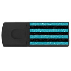 Stripes2black Marble & Turquoise Glitter Rectangular Usb Flash Drive by trendistuff