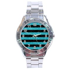 Stripes2black Marble & Turquoise Glitter Stainless Steel Analogue Watch by trendistuff