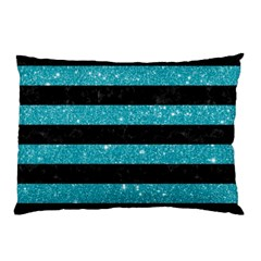 Stripes2black Marble & Turquoise Glitter Pillow Case (two Sides) by trendistuff