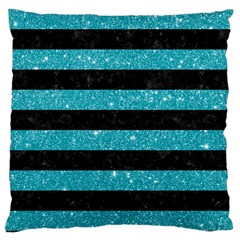 Stripes2black Marble & Turquoise Glitter Large Cushion Case (two Sides) by trendistuff