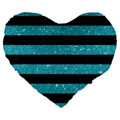 Stripes2black Marble & Turquoise Glitter Large 19  Premium Heart Shape Cushions by trendistuff