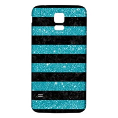Stripes2black Marble & Turquoise Glitter Samsung Galaxy S5 Back Case (white) by trendistuff