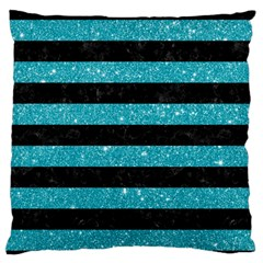 Stripes2black Marble & Turquoise Glitter Large Flano Cushion Case (two Sides) by trendistuff