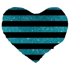 Stripes2black Marble & Turquoise Glitter Large 19  Premium Flano Heart Shape Cushions by trendistuff