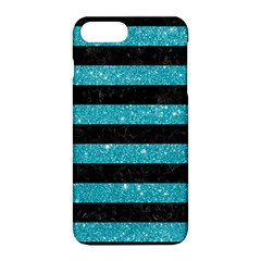 Stripes2black Marble & Turquoise Glitter Apple Iphone 8 Plus Hardshell Case