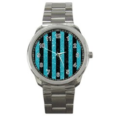 Stripes1 Black Marble & Turquoise Glitter Sport Metal Watch by trendistuff