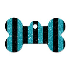 Stripes1 Black Marble & Turquoise Glitter Dog Tag Bone (one Side) by trendistuff