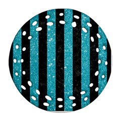 Stripes1 Black Marble & Turquoise Glitter Ornament (round Filigree) by trendistuff