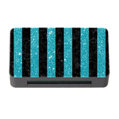 Stripes1 Black Marble & Turquoise Glitter Memory Card Reader With Cf by trendistuff