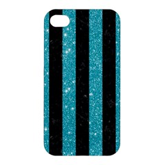 Stripes1 Black Marble & Turquoise Glitter Apple Iphone 4/4s Hardshell Case by trendistuff