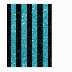 Stripes1 Black Marble & Turquoise Glitter Large Garden Flag (two Sides) by trendistuff