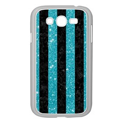 Stripes1 Black Marble & Turquoise Glitter Samsung Galaxy Grand Duos I9082 Case (white) by trendistuff