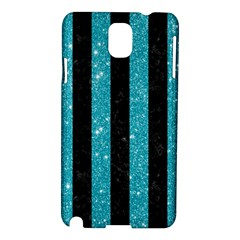 Stripes1 Black Marble & Turquoise Glitter Samsung Galaxy Note 3 N9005 Hardshell Case by trendistuff