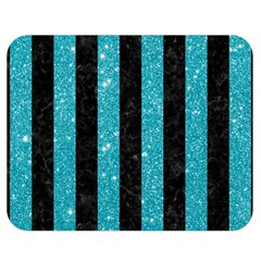 Stripes1 Black Marble & Turquoise Glitter Double Sided Flano Blanket (medium)  by trendistuff