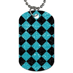Square2 Black Marble & Turquoise Glitter Dog Tag (two Sides)