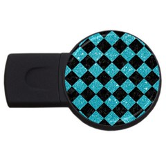 Square2 Black Marble & Turquoise Glitter Usb Flash Drive Round (4 Gb) by trendistuff