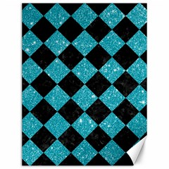 Square2 Black Marble & Turquoise Glitter Canvas 12  X 16   by trendistuff