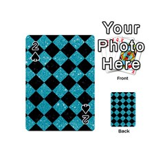 Square2 Black Marble & Turquoise Glitter Playing Cards 54 (mini)  by trendistuff