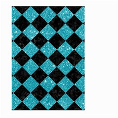Square2 Black Marble & Turquoise Glitter Large Garden Flag (two Sides) by trendistuff