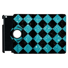 Square2 Black Marble & Turquoise Glitter Apple Ipad 2 Flip 360 Case by trendistuff