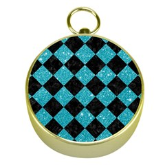 Square2 Black Marble & Turquoise Glitter Gold Compasses by trendistuff