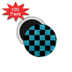 Square1 Black Marble & Turquoise Glitter 1 75  Magnets (100 Pack)  by trendistuff
