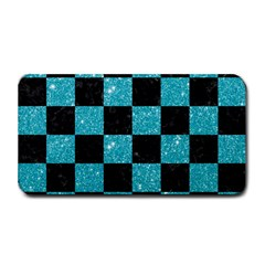 Square1 Black Marble & Turquoise Glitter Medium Bar Mats by trendistuff