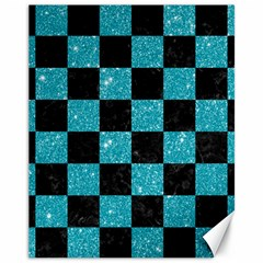 Square1 Black Marble & Turquoise Glitter Canvas 11  X 14   by trendistuff