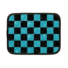 Square1 Black Marble & Turquoise Glitter Netbook Case (small)  by trendistuff