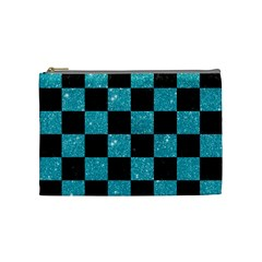 Square1 Black Marble & Turquoise Glitter Cosmetic Bag (medium)  by trendistuff