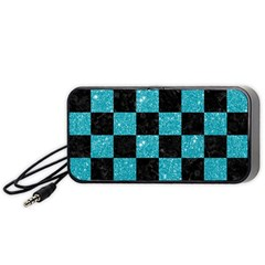 Square1 Black Marble & Turquoise Glitter Portable Speaker by trendistuff