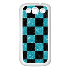 Square1 Black Marble & Turquoise Glitter Samsung Galaxy S3 Back Case (white) by trendistuff