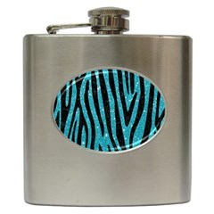 Skin4 Black Marble & Turquoise Glitter (r) Hip Flask (6 Oz) by trendistuff