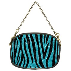 Skin4 Black Marble & Turquoise Glitter (r) Chain Purses (two Sides)  by trendistuff