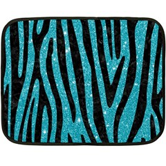 Skin4 Black Marble & Turquoise Glitter (r) Double Sided Fleece Blanket (mini)  by trendistuff